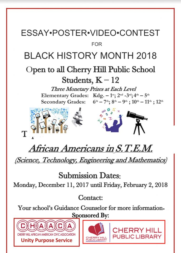 cherry hill african american civic association building communities 2018 annual black history essay • poster • video contest submission deadline 2 2 18